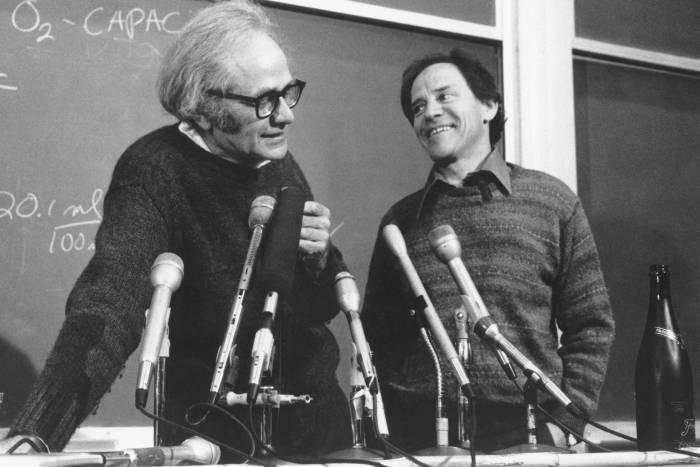 Torsten Wiesel and David Hubel at Nobel Prize press conference in 1981