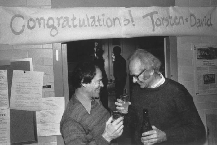 Torsten Wiesel and David Hubel celebrating winning Nobel Prize