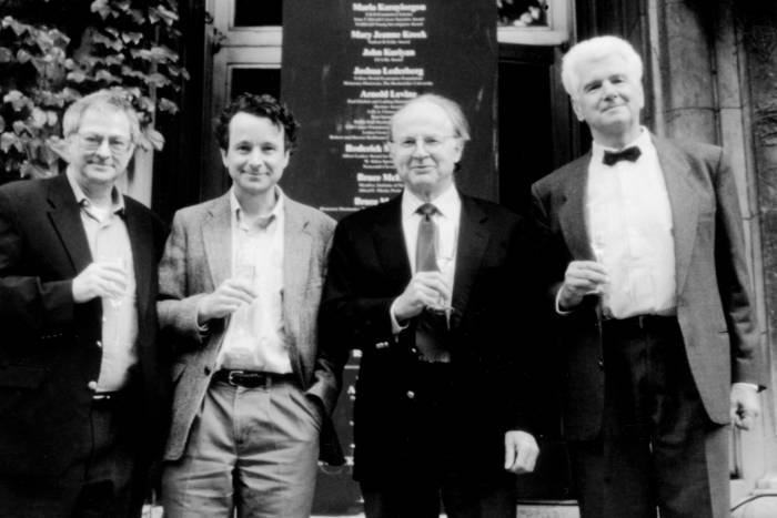 Pep rally with Roderick MacKinnon, Günter Blobel, Robert G. Roeder, Arnold J. Levine