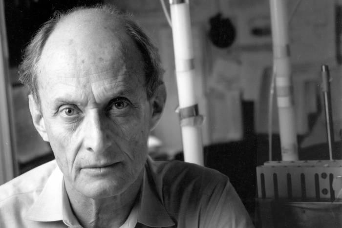 Portrait of Paul Greengard in lab