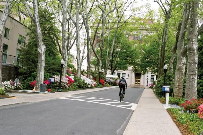 Biking on Rockefeller campus