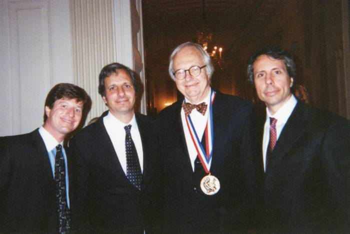 James Darnell with sons (Chris, Robert and John) receiving National Medal of Science in 2002