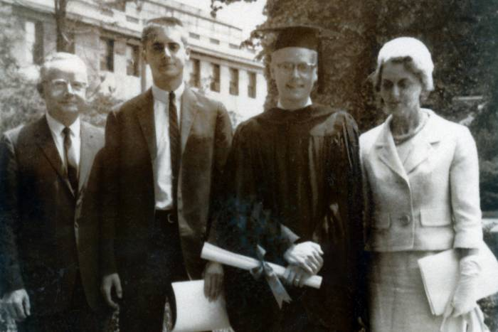 Bruce McEwen at his Rockefeller graduation with parents and brother