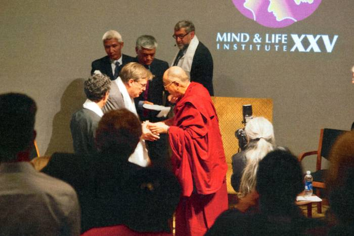 Bruce McEwen and the Dalai Lama at Mind & Life Institute XXV