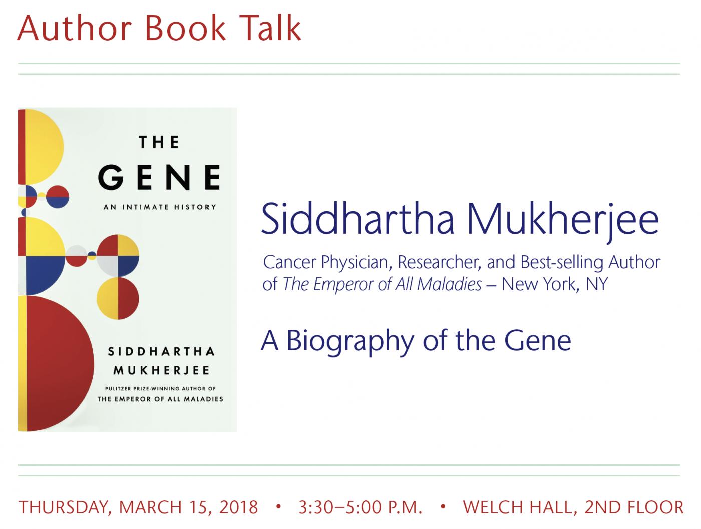 Siddartha Mukherjhee Talk Poster
