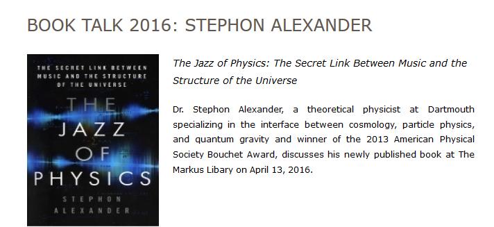 Book Talk 2016: Stephon Alexander