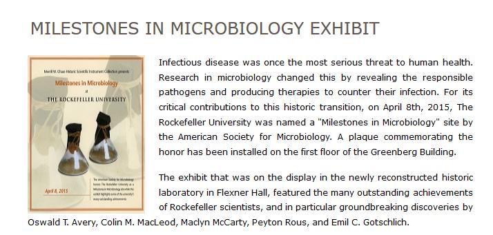 Milestones In Microbiology Exhibit