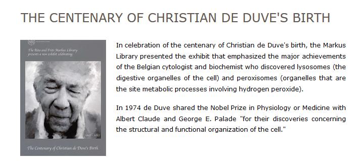 The Centenary of Christian de Duve's Birth