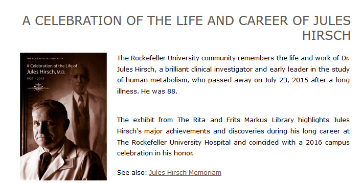 A Celebration of the Life and Career of Jules Hirsch