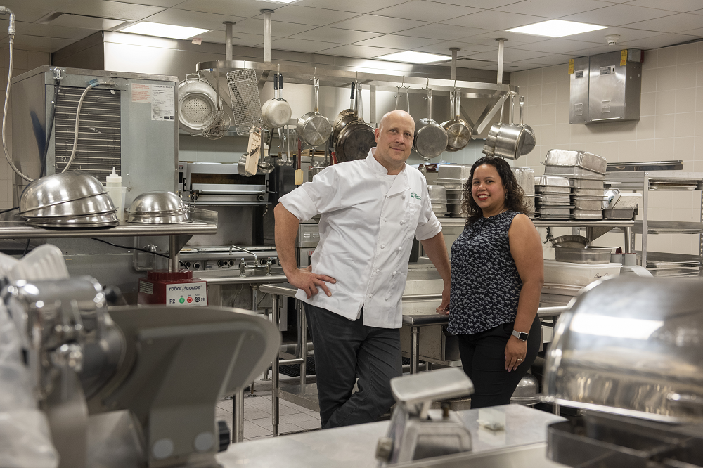 Alex Oefeli, on-site executive chef and Katherine Guerrero-Butler, catering manager