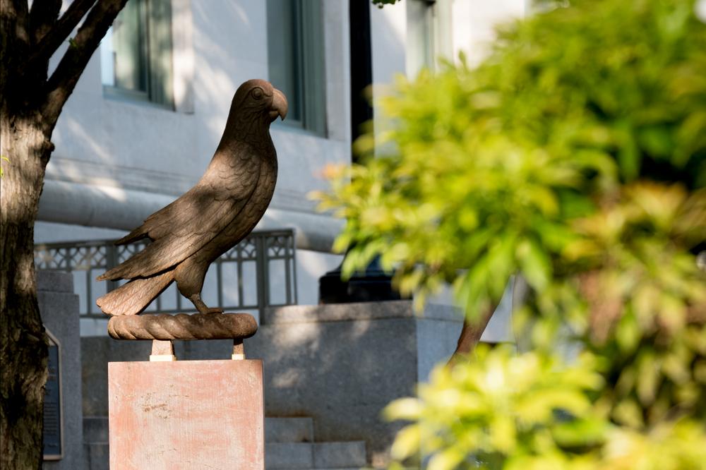 Parrot sculpture donated by Torsten N. Wiesel