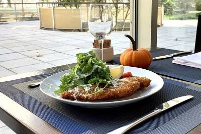 Chicken Milanese served in the Abby Dining Room