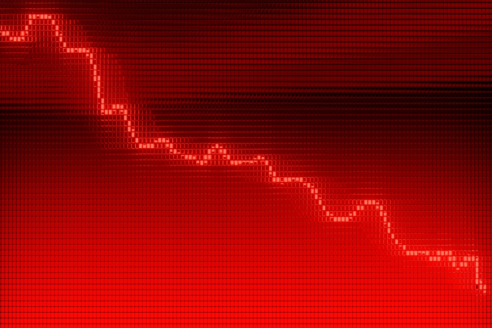 red downward graph