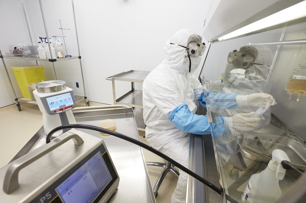 Rockefeller pharmacist in the clean room where sterile injectable drugs are prepared.
