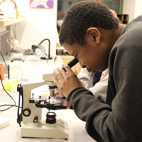 Lab Experience of a student looking through microscope