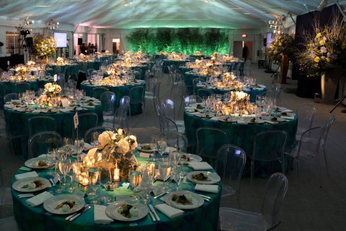 Guests enjoyed a beautiful dinner under a tent on the campus esplanade