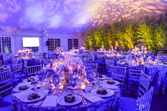 Guests enjoyed dinner under a beautiful tent on the campus esplanade