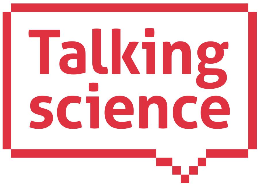 Talking Science logo, text in 8-bit style speech bubble