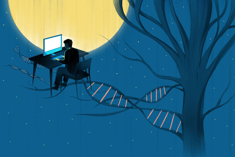 Illustration of a person working late into the night